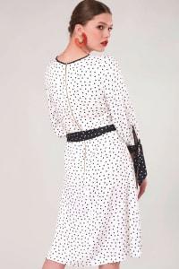 White Polka Dot Bow Cuffs Gathered Dress - Back