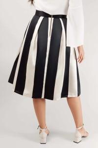 Black & White Striped Skirt - Back