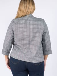 Plaid Woven Blazer - Plus - Black - Back