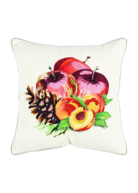 """Fruit and Pinecones 20""""x20"""" Multi Color Cotton Pillow Cover - Back"""