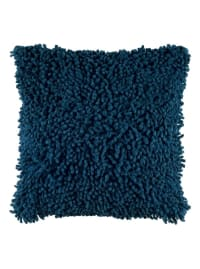 Solid Marine Blue Poly Cotton Filled Pillow - Back