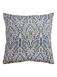 Damask Blue & Natural Throw Pillow - Back