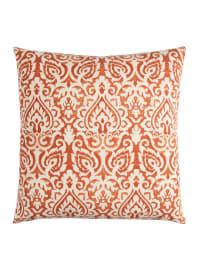 Damask Orange & Natural Throw Pillow - Back