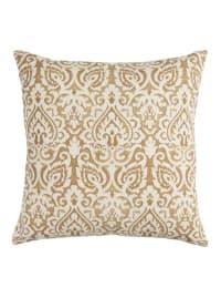 Damask Gold & Natural Throw Pillow - Back