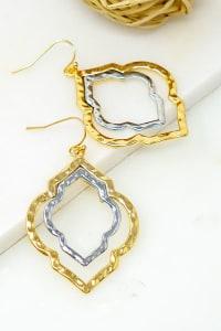 Two-Tone Twisted Hoops Earrings - Gold - Back