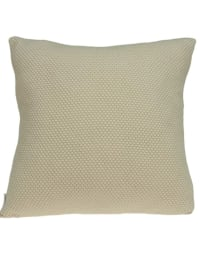 Casual Square Knit Beige Accent Pillow Cover - Back