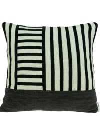Black and Grey Pillow Cover With Down Insert - Black - Back