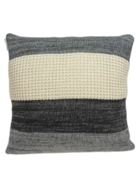 Casual Square Cream and Heather Gray Accent Pillow Cover - Grey - Back