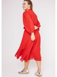 Karen Ruffle Hem  Hi Low Dress - Plus - red  - Back