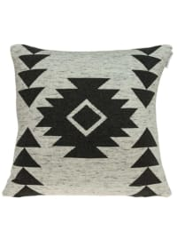 Heather Tan and Grey Southwest Design Cotton Pillow Cover - Tan - Back