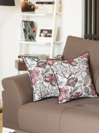 "Set of 2 17"" Jacquard Weaver Throw Pillow Cover in Red - Red - Back"