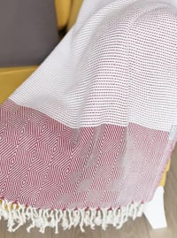 """70"""" Turkish Cotton Handwoven Throw Blankets in Red - Red - Back"""