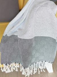 "70"" Turkish Cotton Handwoven Throw Blankets in Black - Back"