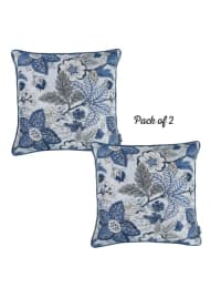 "Set of 2 17"" Jacquard Forest Sky Throw Pillow Cover in Blue - Blue - Back"