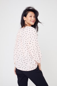 Roz & Ali Blush Heart Bubble Hem Blouse - Petite - Blush - Back