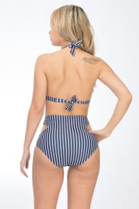 CaCelin Striped High Waist Two-Piece Bikini Swimsuit - Navy - Back