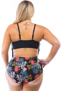 CaCelin High Waist Bikini Swimsuit - Plus - Black - Back