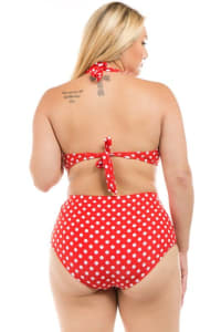 CaCelin Polka-Dot High Waist Bikini Set- Plus - Back