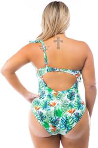 Cacelin Ruffle Sleeve One Piece Swimsuit - Plus - Back