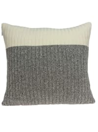 Casual Square Gray and Tan Accent Pillow Cover - Brown - Back