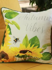 "Set of 4 18"" Autumn Vibes Throw Pillow Cover in Multicolor - Multi Colour - Back"