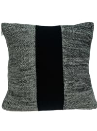 Grey Cotton Pillow Cover With Poly Insert - Grey / Black - Back