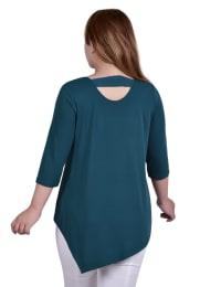 Asymmetrical Hem Crepe Top - Plus - Back