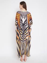 Leopard Handmade Print Kaftan Dress - Back