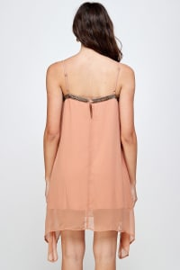 KAII Metal Fringed Mini Dress - Blush - Back