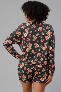 French Terry Daisy Floral Short PJ Pajama Set - Back