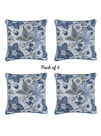 "Set of 4 17"" Forest Sky Jacquard Throw Pillow Cover in Blue - Blue - Back"