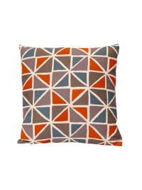 Orange and Blue Geometric Design Square Pillow - Back