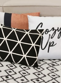 Black on White Cozy Up Sentiment Pillow - Back