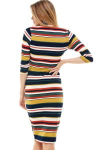 Multi Stripe Rib Fitted Midi Dress - Rust / Olive - Back