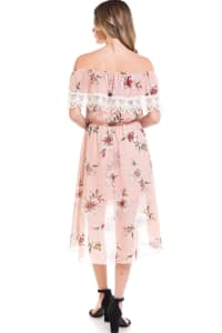 Chiffon Floral Off The Shoulder High-Low Dress - PINK - Back