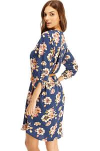 Floral Belted Long Sleeve Shirt Dress - BLUE - Back