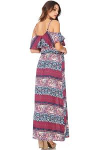 Boho Printed Cold Shoulder Maxi Dress - Mauve - Back