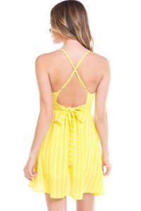 Striped A-Line Cami Dress - Back