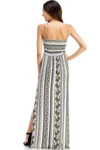 Boho Printed Smocked Tube Maxi Dress - White - Back
