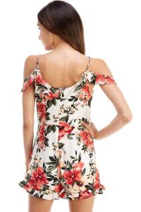 Floral Patterned Cold Shoulder Romper - White - Back