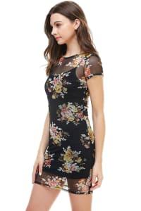 Floral Inner Lined Mock Neck Cap Sleeve Fitted Dress - Back