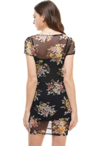 Floral Inner Lined Mock Neck Cap Sleeve Fitted Dress - Black - Back