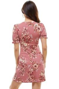 Floral V Neck Puff Sleeve Short Dress - Mauve - Back