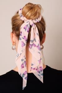 Floral Print Ponytail Scrunchy - Back
