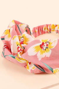 Floral Print Twisted Chunky Head Wrap - Back