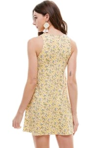 Ditsy Floral Jersey A-Line Dress - Yellow - Back