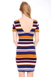 Multi Stripe V-Neck Short Sleeve Dress - Mustard / Blue - Back