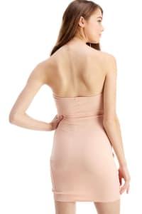 Bra Cupped Tulip Hem Tube Dress - Dusty Rose - Back