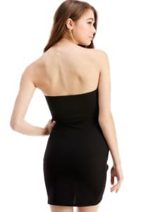 Bra Cupped Tulip Hem Tube Dress - Black - Back