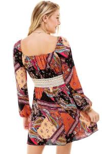 Patchwork Printed Crochet Waist Dress - Back